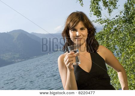 Girl With Glass Of Water