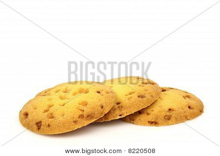 Freshly baked caramel chip cookies