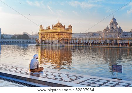 Sikh Man Is Praying In Golden Temple. Amritsar. India