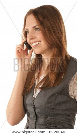 Portrait of smiling young woman with mobile phone