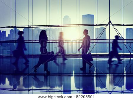 Back Lit People Walking Mall Cityscape Shopaholic Concept