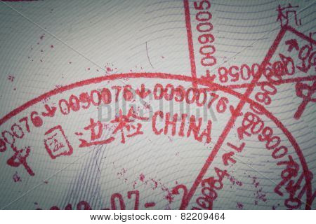 Admitted Stamp Of China Visa For Immigration Travel Concept