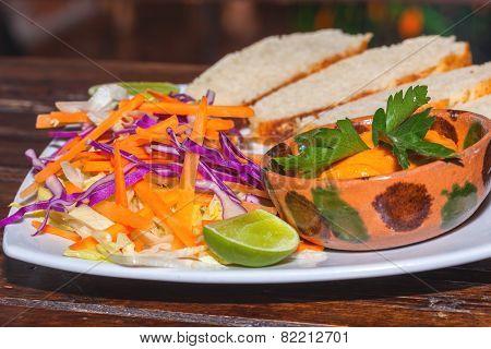 Chickpeas with tahini, delicious humus salad