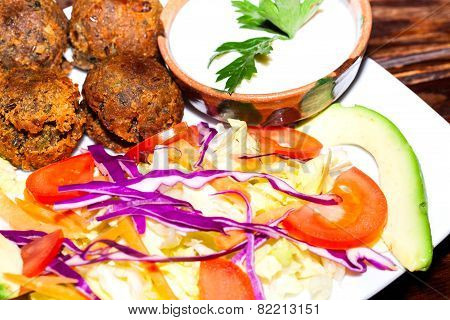 Falafel plate with vegetables, vegetarian food