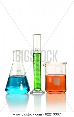 Laboratory glassware on table isolated over white background - With Clipping Path on Glassware