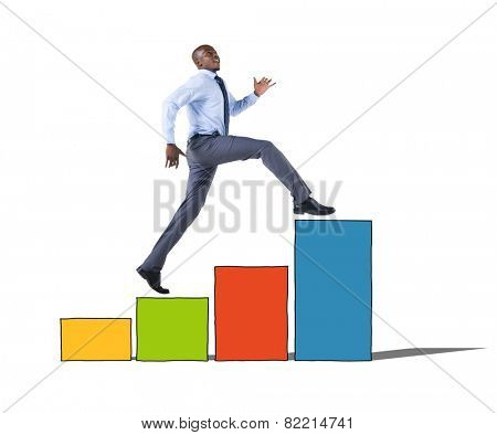 Businessman on a Bar Graph Moving Up