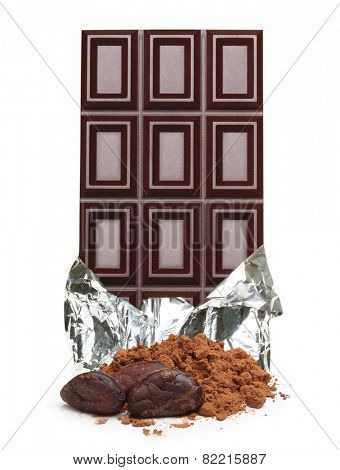 Dark chocolate bar in foil, cacao beans and powder  isolated on white background