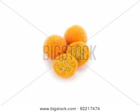 Hairy Eggplant, Solanum Ferlox On White Background