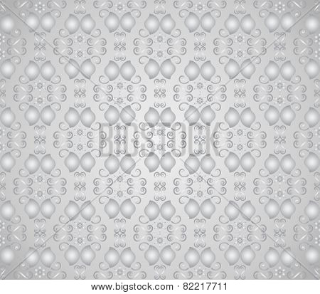 Silver Vintage Flower And Swirl Pattern In Classic Style