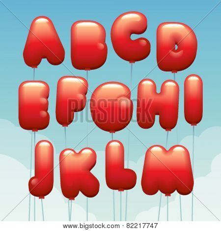 Vector latin numbers made of flying balloons. Letters from A to M