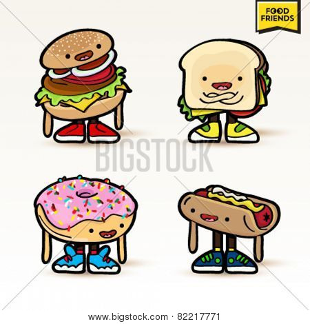 Set of cute vector food characters