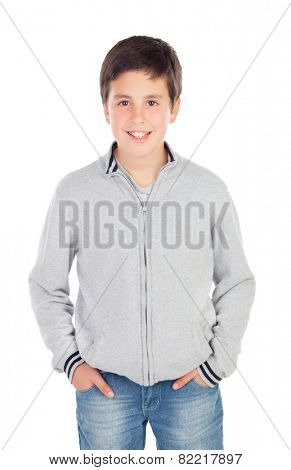 Smiling teenage boy of thirteen isolated on white background