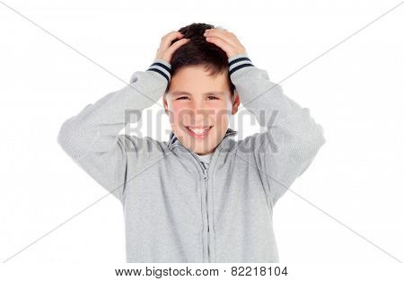 Surprised teenage boy of thirteen isolated on white background