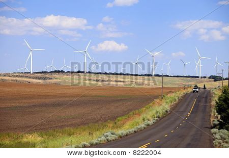 Fields and turbines.