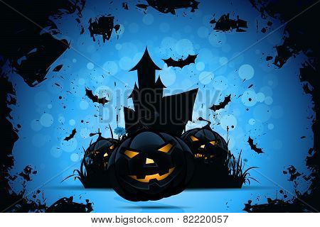 Grunge Halloween Party Background with Pampkins House in Grass and Bats