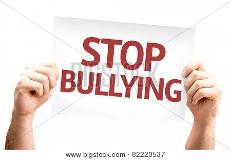 Stop Bullying card isolated on white background