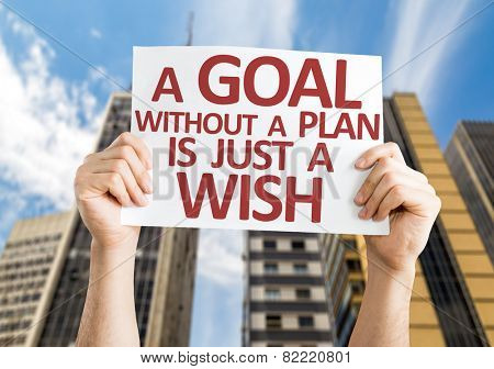 A Goal without a Plan is Just a Wish card with a urban background