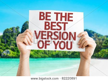 Be the Best Version of You card with a beach background