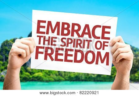 Embrace the Spirit of Freedom card with a beach background