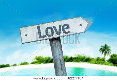 Love sign with a beach on background