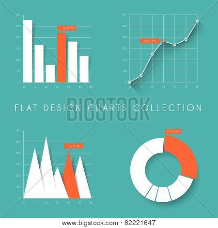 Set of vector flat design infographics statistics charts and graphs - teal and red version
