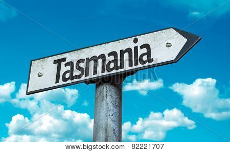 Tasmania sign with sky background