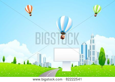 Green City Landscape With Hot Air Balloons