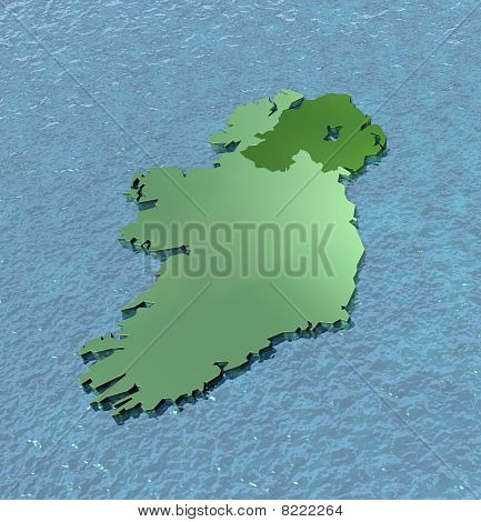 A 3D map of Ireland on the sea