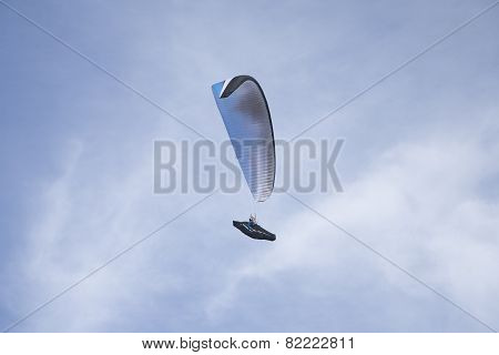 White Paraglider In The Air