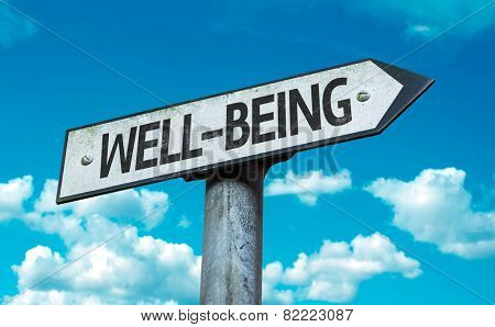 Well-Being sign with sky background