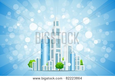 Blue Background With Business City And Rays