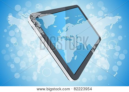 Blue Background With World Map And Tablet Computer