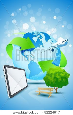 Abstract Background With Planet Earth Airplane And Tablet Computer