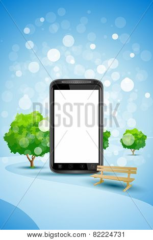 Blue Background With Empty Mobile Phone