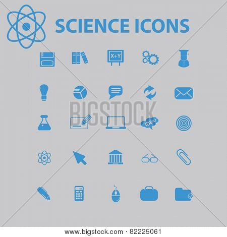 science, laboratory, education icons, signs, illustrations set, vector