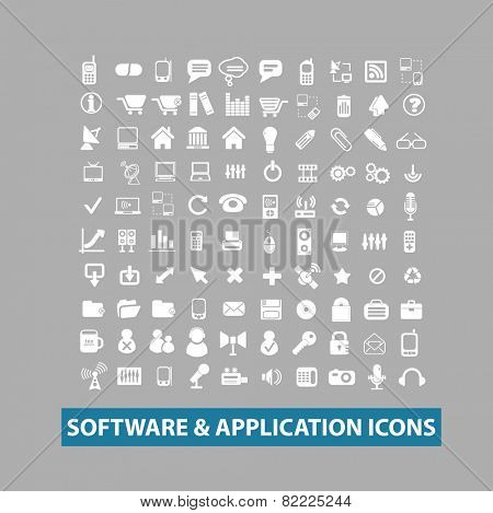 software, application, interface, smartphone icons, signs, illustrations set, vector