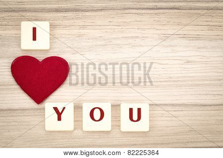 Valentine's Hearts On A Wooden Background And Tex I Love You