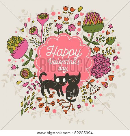 Happy Valentines day. Cute small kittens in clover flowers - bright childish background in vector