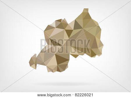 Low Poly map of Rwanda
