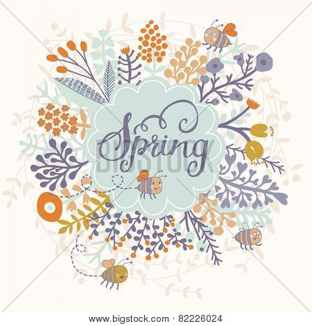 Awesome spring card in vector. Stylish floral card in bright summer colors. Romantic card