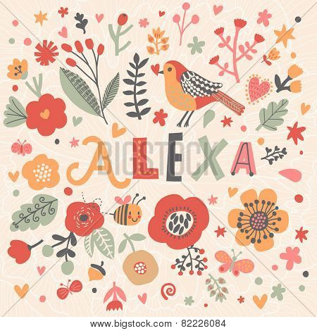 Bright card with beautiful name Alexa in poppy flowers, bees and butterflies. Awesome female name design in bright colors. Tremendous vector background for fabulous designs