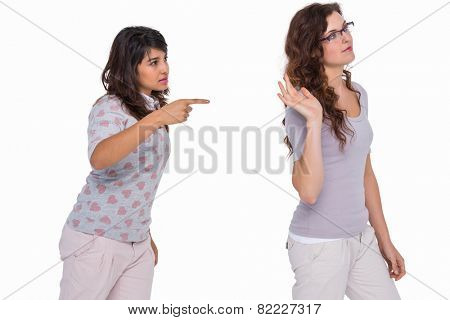 Casual friends quarreling together on white background