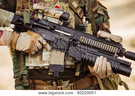 Weapon In The Hands Of A Soldier