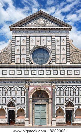 Facade of Basilica di Santa Maria Novella in Florence, Italy