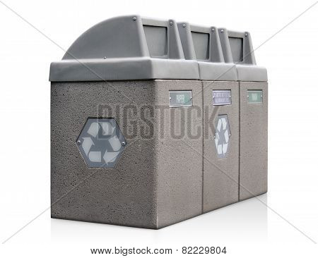 Recycle bins for paper, plastic, and aluminum