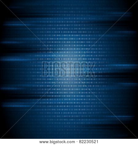 Dark blue binary code tech background. Vector design