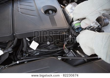Close up of engine in bonnet in a car