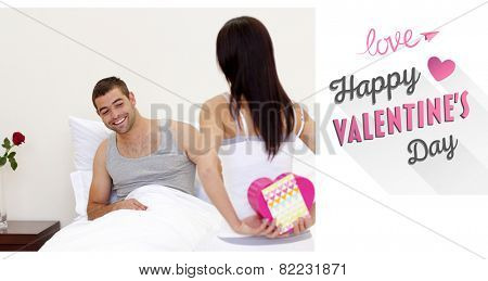 Wife giving her husband a valentine against cute valentines message