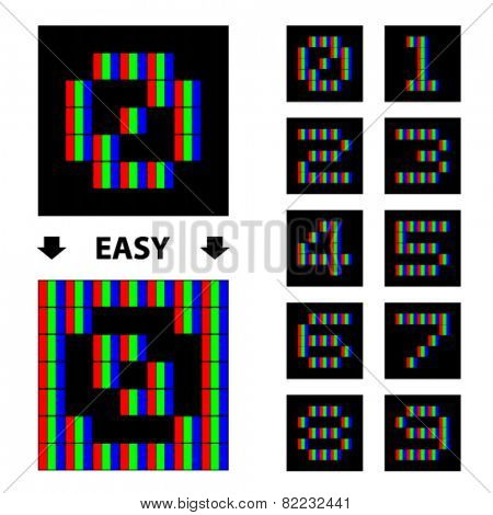 vector RGB pixel numbers font