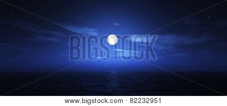 3D render of the moon over the ocean in widescreen